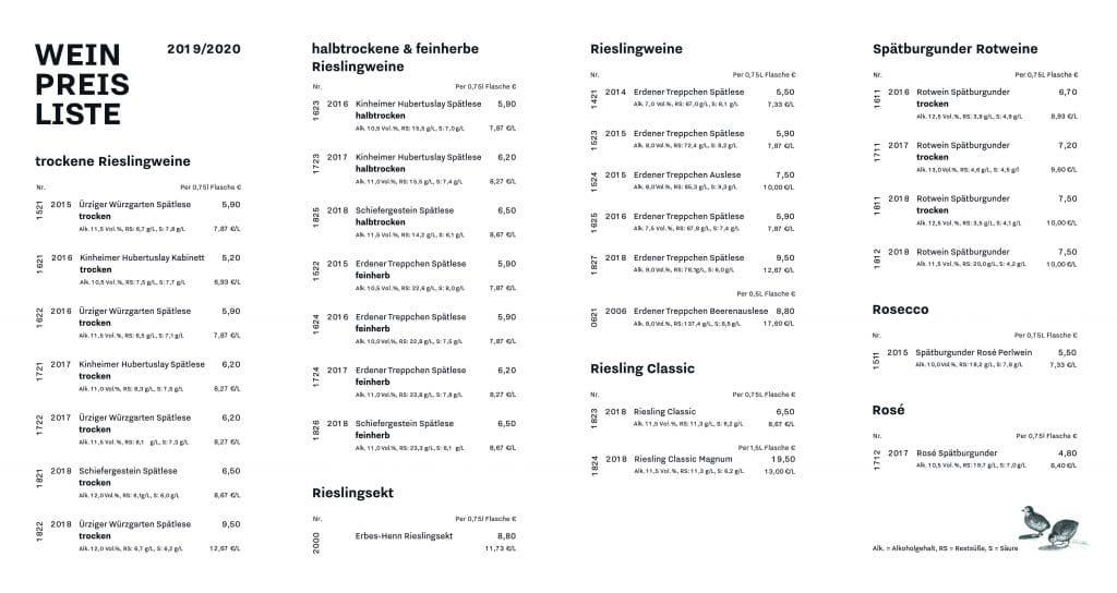 Weinpreisliste Erbes-Henn Weingut Mosel
